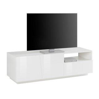Meuble TV design VEGA 150 cm laqué blanc brillant 2 portes 1 tiroir 1 niche