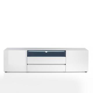 Meuble TV design VERONA 185 cm laqué blanc brillant 2 portes 2 tiroirs 1 niche