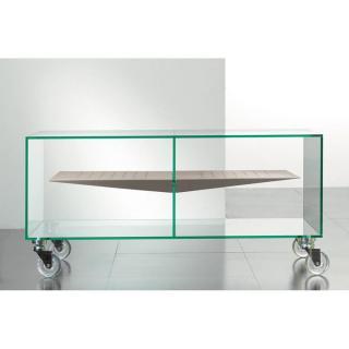 Meuble TV MALTA en verre étagère centrale taupe