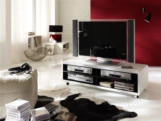 Meuble TV JUNAS XL laqué blanc et noir à roulettes 1 étagère