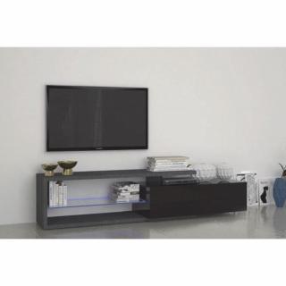 Meuble TV4 design TREVISO effet marbre avec un grand tiroir laqué noir