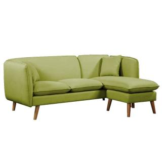 Canapé MIMA 3 places plus pouf modulable en angle style scandinave tissu tweed vert