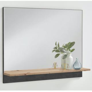 Miroir mural BEZIERS coloris gris anthracite matera et artisan chêne 1 plateau fixe