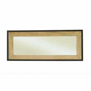Miroir rectangulaire LEA en bois de paulownia et en métal style industriel