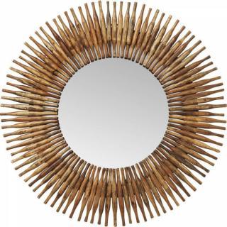 Miroir TIMES design rétro vintage cadre bois rond 120cm