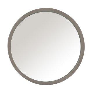 Miroir rond RIGZ en verre et bois gris.