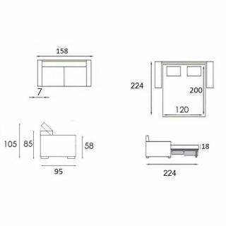 Canapé 2-3 places MONTMARTRE 120cm MATELAS 18CM EXPRESS ou cuir