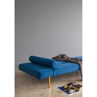 INNOVATION LIVING NAPPER Méridienne lit bleu 200*80 cm piétement doré
