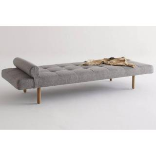 Méridienne lit DAYBED NAPPER STEM gris Mixed Dance Grey convertible lit 200*80 cm  piétement en chêne