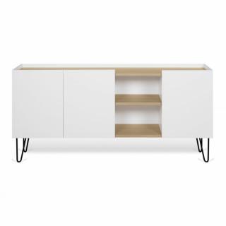Buffet design NINA  Chêne clair et blanc 180cm