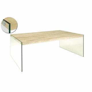 Table basse NINA 110 x 70 cm en verre et chêne clair