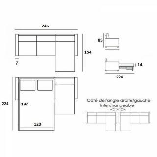 Canapé d'angle NORDIC 120 cm convertible RAPIDO couchage quotidien 16 cm