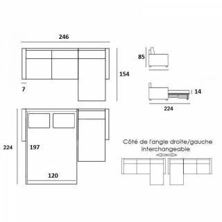 Canapé d'angle NORDIC convertible RAPIDO couchage quotidien 14cm