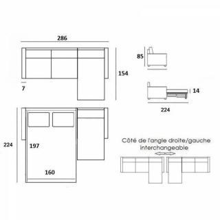 Canapé d'angle NORDIC 160 cm convertible RAPIDO couchage quotidien 16 cm