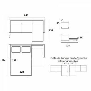 Canapé convertible d'angle NORDIC matelas 16 cm système rapido sommier lattes 120 cm RENATONISI pieds naturel