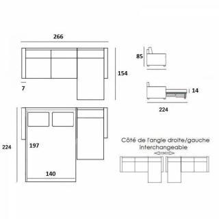 Canapé convertible d'angle NORDIC matelas 14cm système express sommier lattes RENATONISI