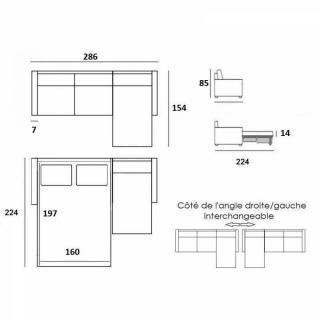 Canapé convertible d'angle NORDIC matelas 14 cm système rapido sommier lattes 160 cm RENATONISI pieds naturel