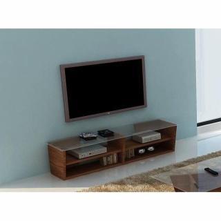 meubles tv meubles et rangements temahome oliva 170cm meuble tv noyer avec plateau en verre. Black Bedroom Furniture Sets. Home Design Ideas