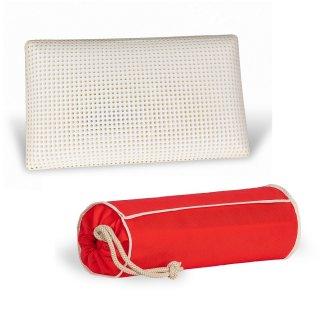Oreiller OPTIMA avec sac de rangement tissu rouge