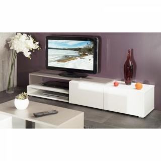 PACIFIC Meuble tv couleur blanc et taupe laqué brillant. grand modèle