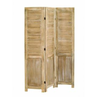 Paravent 3 volets SARAH en bois de paulownia style campagne