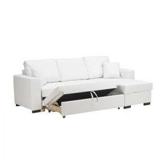 Canapé d'angle  convertible PARIGI en tissu enduit polyuréthane revêtement polyuréthane façon cuir  blanc + coffre