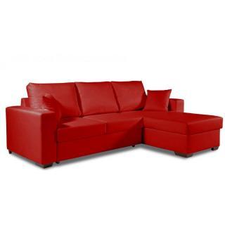 Canapé d'angle  convertible PARIGI en tissu enduit polyuréthane simili façon cuir rouge + coffre