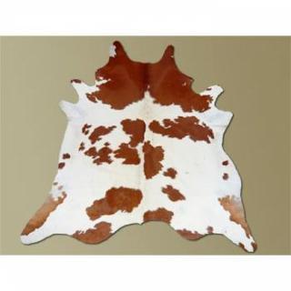 Tapis de peau de vache taurillon robe marron et blanc