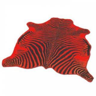 Tapis en peau de vache imitation zébre noir et rouge