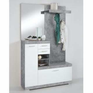 Penderie BEZIERS coloris gris béton et blanc brillant 1 porte 2 tiroirs 3 plateaux fixes 3 plateaux amovibles