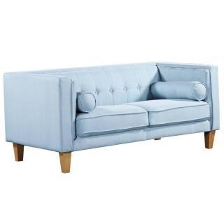 Canapé 2 places style scandinave PIAVOLA tissu tweed bleu ciel