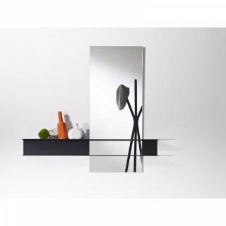 POKE Miroir mural carré en verre avec pied design de couleur noire