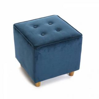Pouf carré SABA velours bleu