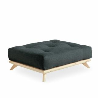 Pouf futon SENZA pin naturel coloris gris ardoise de 90 x 100 cm.