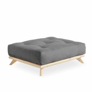 Pouf futon SENZA pin naturel coloris gris granit de 90 x 100 cm.