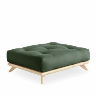 Pouf futon SENZA pin naturel coloris vert olive de 90 x 100 cm.