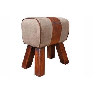 Pouf STROMBOLI en bois assise en coton et cuir marron vieilli
