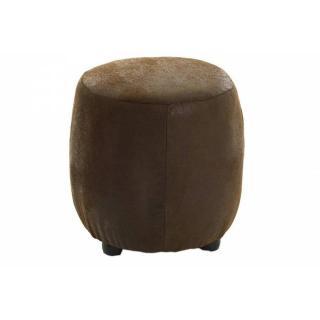 Pouf rond cosy ZOE microfibre marron