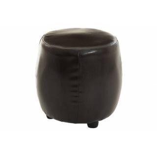 Pouf rond cosy ZOE en tissu enduit polyuréthane simili façon cuir marron
