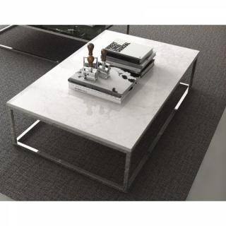 PRAIRIE table basse rectangulaire en marbre blanc piétement métal chromé