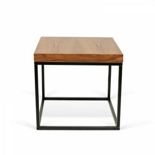 PRAIRIE table basse carrée en noyer piétement acier noir