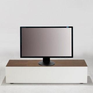 meubles tv meubles et rangements quadran meuble tv design blanc avec plateau bois et coffre de. Black Bedroom Furniture Sets. Home Design Ideas