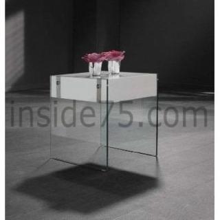 QUARTZ table basse laquée blanc brillant et verre avec tiroir