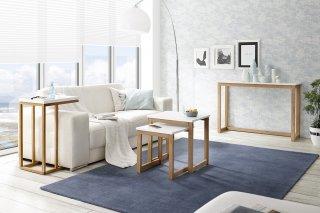 Bout de canapé console REGAT blanc mat et chêne massif huilé