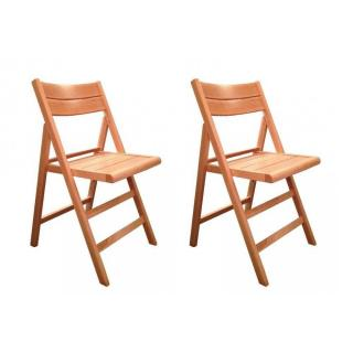 Lot de 2 chaises pliante ROBERT hêtre naturel