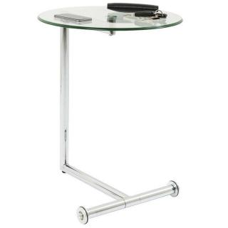 Table d'appoint design ROLLS verre transparent piétement acier chromé