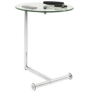 Table d'appoint design ROLLS verre transparent piétement acier chromé