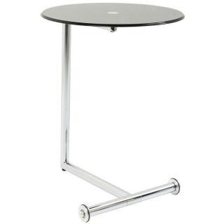 Table d'appoint design ROLLS verre noir piétement acier chromé