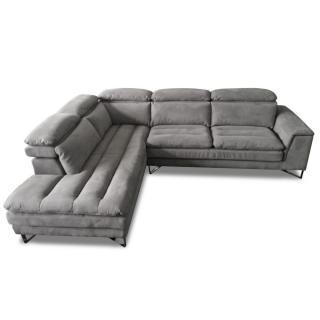 Canapé d'angle gauche fixe ROMA tissu nabucka gris souris