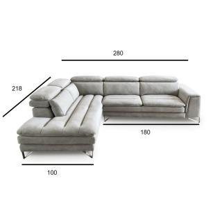 Canapé d'angle gauche fixe ROMA nabucka gris souris
